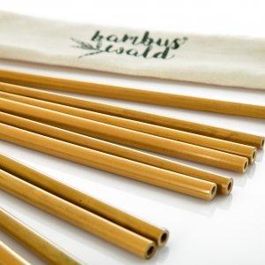 Bambuswald Strohhalme 100% Bambus 12 Stück inkl. Tasche & Reinigungsbürste