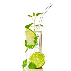 Bambuswald Strohhalme 100% Glas 6 Stück inkl. Reinigungsbürste